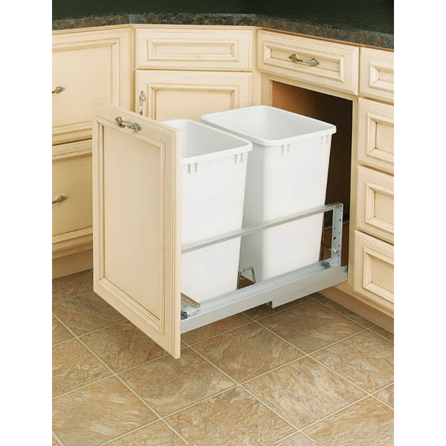Organizing base cabinet organizers trash cans recycling for Bins for kitchen cabinets